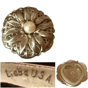 Signed Scarf Clip Gold Tone Flower Faux Pearl